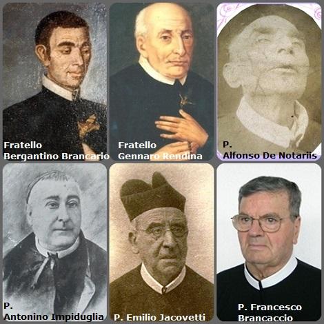 Tra i 56 defunti di oggi 7 gennaio di cui 12 italiani, due immagini mostrano 12 Redentoristi. –Prima immagine 6 Redentoristi: gli italiani Fratello Bergantino Brancario (1734-1779); fratello Gennaro Rendina (1708-1789); P. Alfonso De Notariis (1828-1893); P. Antonino Impiduglia (1835-1898); P. Emilio Jacovetti (1834-1918) e P. Francesco Brancaccio (1929-2012).