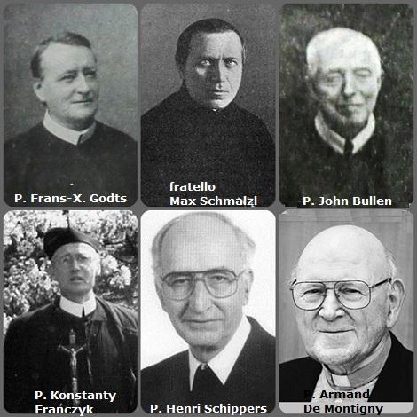 Seconda immagine 6 Redentoristi: il belga P. Frans-Xaveer Godts (1839-1928); il tedesco fratello Max Schmalzl (1850-1930); l'inglese P. John Bullen (1877-1943); il polacco P. Konstanty Franczyk (1910-2000); l'olandese P. Henricus Schippers (1917-2000) e il canadese P. Armand De Montigny (1914-2012).