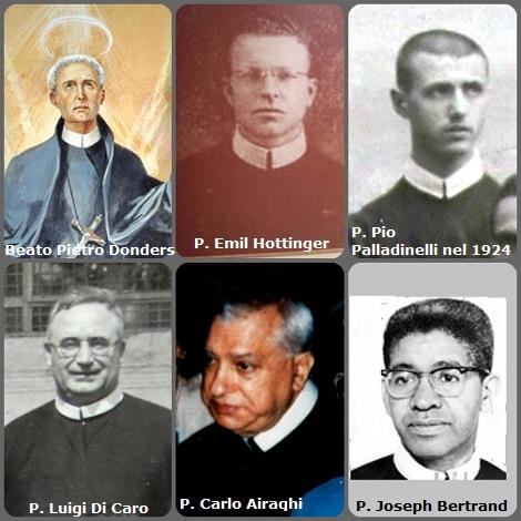 Seconda immagine: 6 Redentoristi = il beato Pietro Donders, (1809-1887) olandese morto nel Suriname; l'americano P. Emil Hottinger (1908-1942); gli italiani P. Pio Palladinelli (1901-1973) mentre era studente nel 1924; P. Luigi Di Caro (1910-1981) e P. Carlo Airaghi (1919-1991); e l'americano P. Joseph Bertrand (1925-2009).