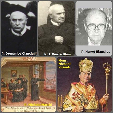Tra i 38 defunti di oggi 16 gennaio, di cui 4 italiani, l'immagine mostra 5 Redentoristi: gli italiani P. Michele Marchi (1829-1886) che aiutò a ritrovare l'icona del Perpetuo Soccorso e P. Domenico Cianciulli (1831-1911); il lussemburghese P. J. Pierre Blum (1837-1929); il canadese P. Hervé Blanchet (1911-1999); l'americano Mons. Michael Rusnak (1921-2003) Vescovo dei Saints Cyril and Methodius di Toronto (Slovakian).