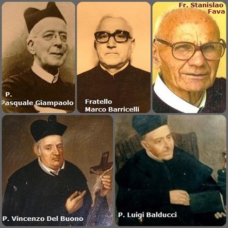 Tra i 53 defunti di oggi 18 gennaio, di cui 10 italiani, due immagini mostrano 10 Redentoristi Prima immagine: 5 Redentoristi italiani = P. Vincenzo Del Buono (1735-1796); P. Luigi Balducci (1804-1883); P. Pasquale Giampaolo (1878-1966); Fratello Marco Barricelli (1905-1979); Fratello Stanslao Fava (1917-2007).