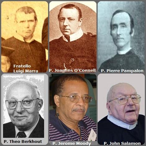 Tra i 39 defunti di oggi 22 gennaio, di cui 1 italiano, l' immagine mostra 6 Redentoristi: l'italiano Fratello Luigi Marra (1818-1888) in una foto di gruppo del 1863; l'irlandese P. Joannes O'Connell (1841-1889); il canadese P. Pierre Pampalon (1861-1921) –foto incerta; l'olandese P. Theo Berkhout (1911-1999); gli americani P. Jerome Moody (1946-2006) che fu il primo rettore della Regione Caribian di lingua inglese e P. John Salamon (1919-2013).