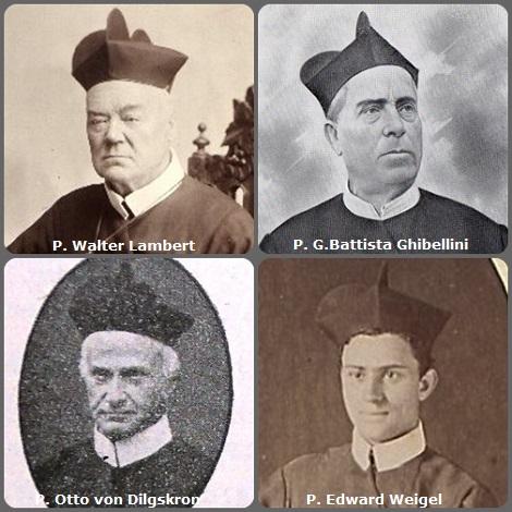 Tra i 42 defunti di oggi, di cui 5 italiani, due immagini mostrano 7 Redentoristi.- Prima immagine, 4 Redentoristi: l'irlandese P Walter Lambert (1815-1903); l'italiano P. G.Battista Ghibellini (1835-1922); l'austriaco P. Otto von Dilgskron, (1845-1923), fratello dello storico redentorista Karl e l'americano P. Edward Weigel (1851-1937).