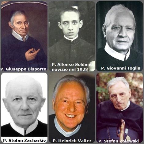 Tra i 47 defunti di oggi, 3 febbraio, di cui 7 italiani l'immagine mostra 6 Redentoristi: tre italiani P. Giuseppe Disparte (1749-1812); P. Alfonso Soldano (1913-1943) in una foto da novizio nel 1928 e P. Giovanni Toglia (1886-1967); l'ucraino P. Stefan Zacharkiv (1922-2003); il tedesco P. Heinrich Valter (1925-2008) e il polacco P. Stefan Zalewski (1921-2010).