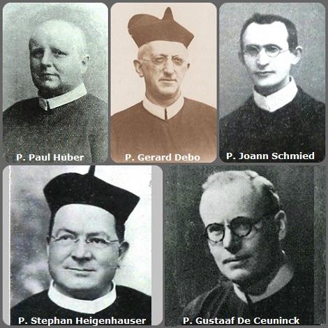 Seconda immagine, 5 Redentoristi: il tedesco P. Paul Huber (1848-1924); il belga P. Gerard Debo (1857-1928); il moravo P. Joann Schmied (1886-1931; il bavarese P. Stephan Heigenhauser (1879-1937), missionario in Brasile e il belga P. Gustaaf De Ceuninck (1902-1975).