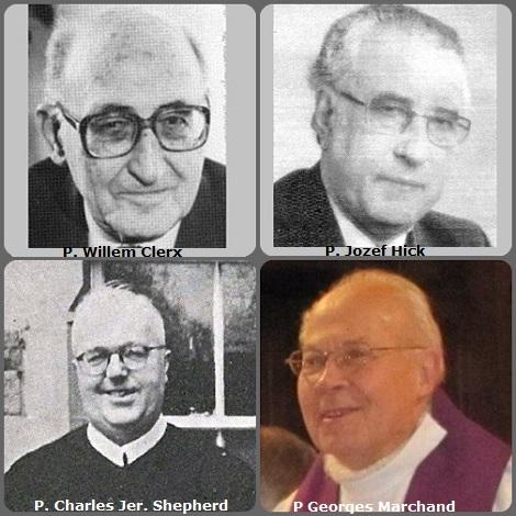 Terza immagine, 4Redentoristi: gli olandesi P. Willem Clerx (1913-1999)e P. Jozef Hick (1923-2003); l'irlandese P. Charles Jer. Shepherd (1914-2006)e il francese P Georges Marchand (1923-2013).