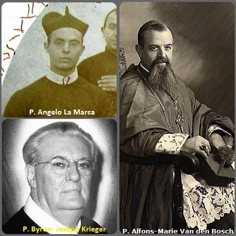 Tra i 32 defunti di oggi 26 marzo, di cui 3 italiani l'immagine mostra 3 Redentoristi: l'italiano P. Angelo La Marca (1874-1944); l'americano P. Byron- Joseph Krieger (1882-1978) e il belga P. Alfons-Marie Van den Bosch (1894-1973) che fu Vescovo di Matadi in Congo.