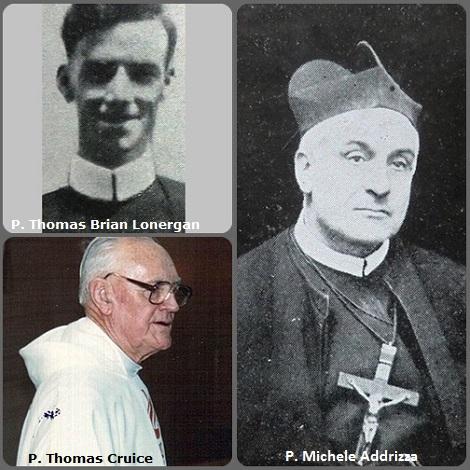 Tra i 38 defunti di oggi 13 aprile, di cui 4 italiani l'immagine mostra 3 Redentoristi: il canadese P. Thomas Brian Lonergan (1903-1931) e l'italiano P. Michele Addrizza (1861-1944) e l'australiano P. Thomas Cruice (1912-2013).
