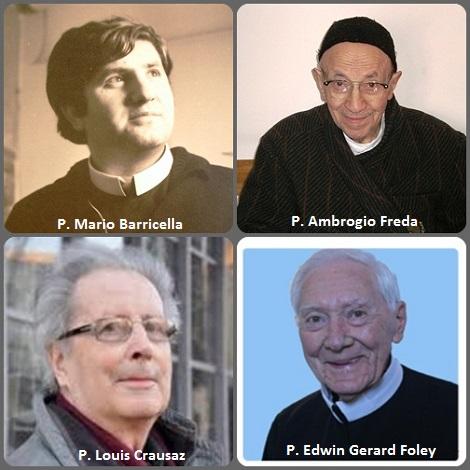 La seconda immagine mostra gli italiani: P. Mario Barricella (1944-1975), morto tragicamente nell'incidente del pullman che si recava a Roma per l'Anno Santo; P. Ambrogio Freda (1909-2004); lo svizzero P. Louis Crausaz (1927-2012) e l'americano P. Edwin Gerard Foley (1921-2012).