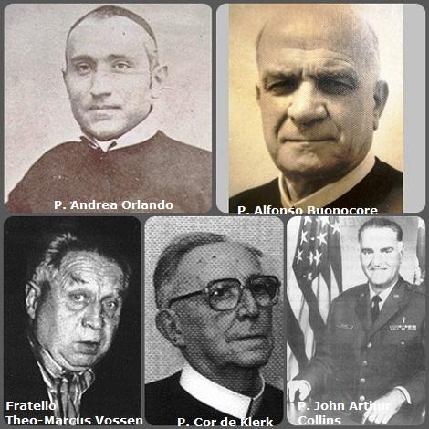 Tra i 38 defunti di oggi 7 maggio, di cui 8 italiani l'immagine mostra 5 Redentoristi: gli italiani P. Andrea Orlando (1819-1896) e P. Alfonso Buonocore (1896-1972); gli olandesi Fratello Theo-Marcus Vossen (1916-1998) e P. Cor(nelius) de Klerk (1903-2001) e l'americano P. John Arthur Collins (1931-2003) in divisa di cappellano militare.