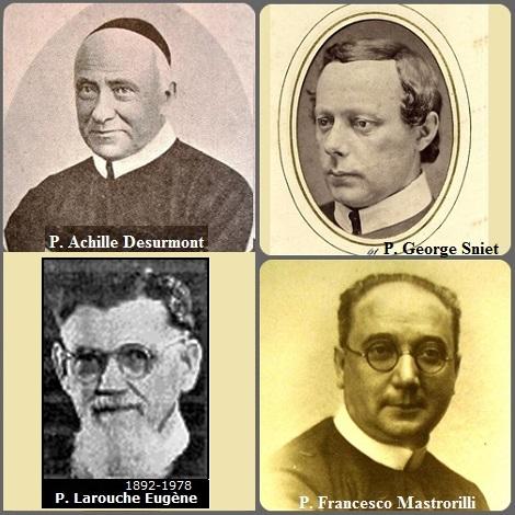 Tra i 26 defunti di oggi 23 luglio, di cui 2 italiani l'immagine mostra 4 Redentoristi: l'olandese P. George Sniet (1832-1887), il francese P. Achille Desurmont (1828-1898), il canadese P. Eugène Larouche (1892-1978) e l'italiano P. Francesco Mastrorilli (1883-1954).