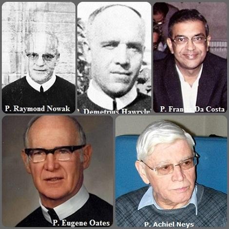 Tra i 33 defunti di oggi 3 settembre, di cui nessuno italiano, l'immagine mostra 5 Redentoristi: gli americani P. Raymond Nowak (1913-1984) e P. Eugene Oates (1915-2012); l'indiano P. Francis Da Costa (1922-2004), che fu consultore generale 1979-1885 e l'ucraino-canadese P. Demetrius Hawryluk (1896-1950) e il belga P. Achiel Neys (1943-2013).