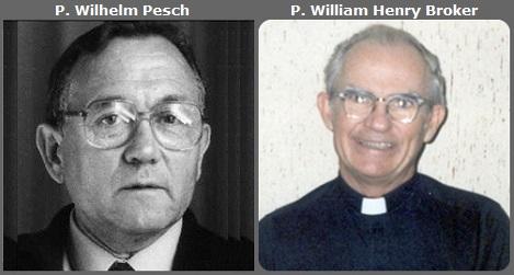Seconda immagine: il tedesco P. Wilhelm Pesch (1923-2013) e l'americano P. William Henry Broker (1923-2013).
