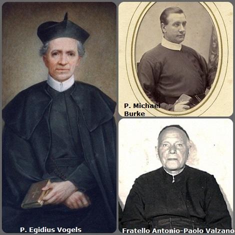 Tra i 37 defunti di oggi 7 ottobre, di cui 3 italiani, due immagini mostrano 7 Redentoristi: Prima immagine: l'olandese P Egidius Vogels (1804-1877), l'americano P. Michael Burke (1837-1891) e l'italiano fratello Antonio-Paolo Valzano (1899-1981).