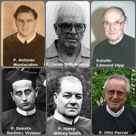 Tra i 32 defunti di oggi 10 ottobre, di cui 4 italiani, l'immagine mostra 6 Redentoristi: lo spagnolo P. Donato Jiménez Viviano (1873-1936); l'americano P. Harry Sidney Smith (1903-1977); l'italiano P. Antonio Montecalvo (1916-1981); l'olandese P. Jaap (Jacob) Willebrands (1912-2000) e il tedesco fratello Edmund Hipp (1923-2012) e l'austriaco P. Otto Parzer (1938-2013).