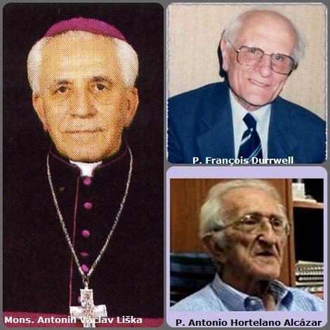 Seconda immagine, 3 Redentoristi: il ce slovacco Mons. Antonín Václav Liška (1924-2003) vescovo di Budweis nella Repubblica Ceca; il francese P. François Durrwell (1912-2005) e lo spagnolo P. Antonio Hortelano Alcázar (1921-2009).