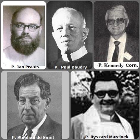 Seconda immagine: il belga P. Jan Praats (1927-1970); l'americano P. Paul Joseph Baudry (1896-1982); l'irladese P. Cornelius Kennedy (1916-1990); l'olandese P. Stephan de Smet (1930-2000) e il polacco P. Ryszard Marcinek (1938-2008).