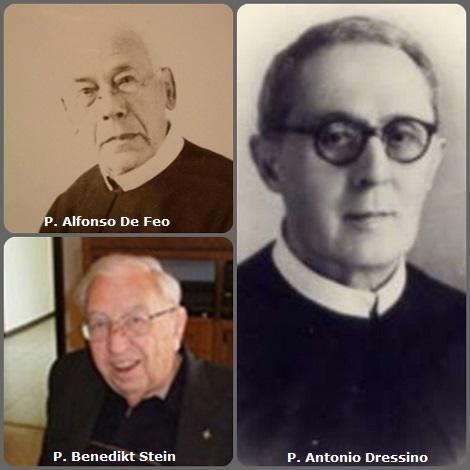 """Tra i 32 defunti di oggi 18 ottobre, di cui 3 italiani, l'immagine mostra 3 Redentoristi: gli italiani P. Alfonso De Feo (1869-1947) e P. Antonio Dressino (1877-1969), dichiarato """"Giusto tra le Nazioni"""" e il tedesco P. Benedikt Stein (1921-2013)."""