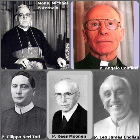 Tra i 29 defunti di oggi 19 ottobre, di cui italiani, l'immagine mostra 5 Redentoristi: l'italiano P. Filippo Neri Toti (1866-1922); l'uruguaiano Mons. Michael Paternain (1894-1970), vescovo di Florida, Urugay; l'olandese P. Kees Moonen (1903-1994); l'australiano P. Leo James English (1907-1997) e l'italiano P. Angelo Conflitti (1931-2009).