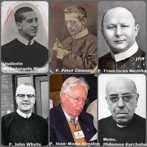 Tra i 34 defunti di oggi 26 ottobre, di cui 3 italiani, l'immagine mostra 6 Redentoristi: lo studente italiano Michelangelo Nigro (1882-1904), il lussemburghese P. Peter Zimmer (1830-1901) trasferito in USA; il boeno P. Franciscus Mezírka (1881-1931), l'irlandese P. John Whyte (1916-2002); il francese P. Jean-Marie Ségalen (1922-2010) e l'ucraino Mons. Philemon Kurchaba (1913-1995), vescovo ausiliare di Lviv, Ucraina.