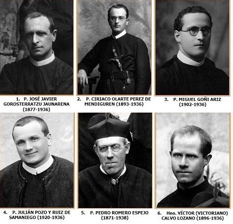 I sei Redentoristi Martiri di Cuenca. proclamati Beati: in totale i Beati Martiri Spagnoli sono 522. - Di altri è in corso il processo di Beatificazione.