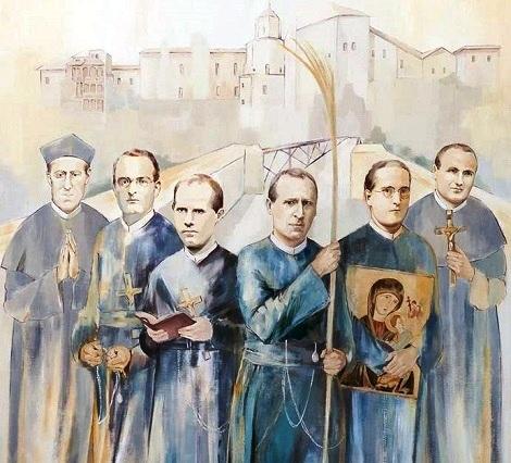 Particolare della tela della Beatificazione dei Martiri Redentoristi di Cuenca, opera di Belén del Pino, licenziata in Belle Arti presso l'Università Complutense di Madrid.