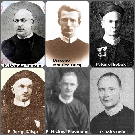 Tra i 40 defunti di oggi 1 dicembre, di cui 5 italiani, l'immagine mostra 6 Redentoristi: l'italiano P. Donato Mancini (1833-1913); il diacono belga Maurice Hucq (1889-1917); il polacco della Slesia P. Karol Sobek (1873-1922); il francese P. Jorge Kaiser (1867-1929); l'americano P. Michael Kleemann (1880-1954) e il cecoslovacco P. John Bala (1894-1970).