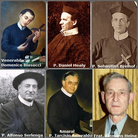 Tra i 39 defunti di oggi 2 novembre, di cui 7 italiani, l'immagine mostra 6 Redentoristi: l'italiano venerabile Domenico Blasucci (1732-1752), studente; l'irlandese P. Daniel Healy (1848-1898); l'americano P. Sebastian Breihof (1850-1921); l'italiano P. Alfonso Serlenga (1900-1972) e il brasiliano P. Tarcísio Ariovaldo Amaral (1919-1994) Rettore Maggiore e poi Vescovo di Campanha, Minas Gerais, Brasile, e il tedesco Fratello Klemens Heine della Provincia di S. Clemente (1920-2013).