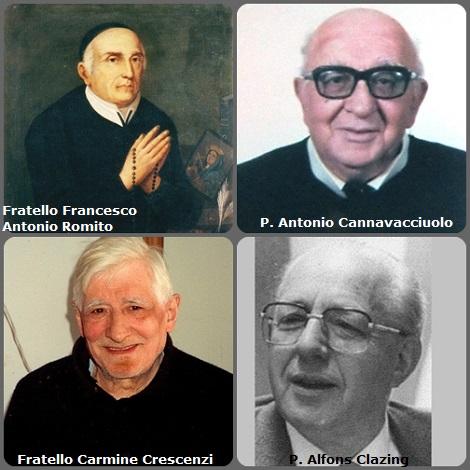Tra i 34 defunti di oggi 4 novembre, di cui 5 italiani, l'immagine mostra 4 Redentoristi: gli italiani Fratello Francesco Antonio Romito (1722-1807); P. Antonio Cannavacciuolo (1913-1992); Fratello Carmine Crescenzi (1915-1996) e l'olandese P. Alfons Clazing (1919-1997).