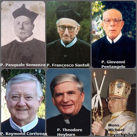Tra i 37 defunti di oggi 12 novembre, di cui 5 italiani, l'immagine mostra 6 Redentoristi: gli italiani P. Pasquale Semenza (1816-1876); P. Francesco Santoli (1901-1991) e P. Giovanni Pentangelo (1920-2000); i canadesi P. Raymond Corriveau (1936-2010) e Mons. Michael Hrynchyshyn (1929-2012), Esarca emerito degli Ucraini di Francia; l'americano P. Theodore Heyburn (1933-2010).