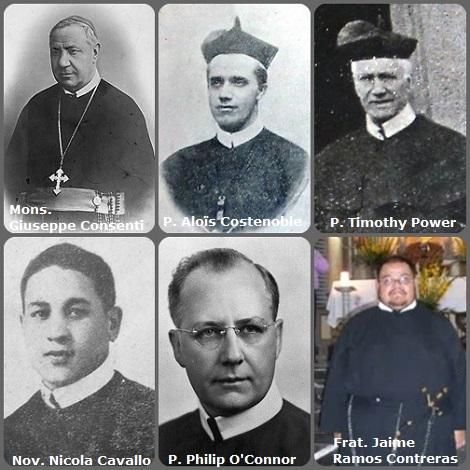 Tra i 21 defunti di oggi 13 novembre, di cui 3 italiani, l'immagine mostra 6 Redentoristi: gli italiani Mons. Giuseppe Consenti (1834-1907), vescovo di Lucera; lo studente/novizio Nicola Cavallo (1928-1943), ucciso dallo scoppio di una bomba a Ciorani; il belga P. Aloïs Costenoble (1866-1929); l'irlandese P. Timothy Power (1841-1933); l'americano P. Philip O'Connor (1896-1987) e il fratello messicano Jaime Ramos Contreras (1980-2010).