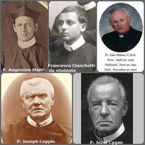 Tra i 34 defunti di oggi 27 novembre, di cui 3 italiani, l'immagine mostra 5 Redentoristi: i belgi P. Augustine Stuhl (1844-1909) e P. Joseph Coppin (1840-1915); l'italiano P. Francesco Cianchetti (1907-1998) in una foto mentre era studente; il cecoslovacco P. John Paul Molnar (1925-2011) e il polacco P. Jozef Cygan (1935-2012).
