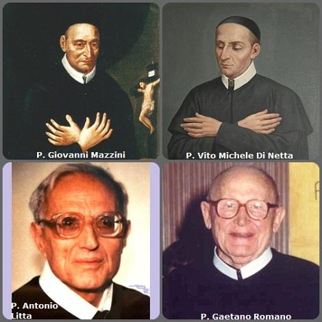 Tra i 39 defunti di oggi 3 dicembre, di cui 6 italiani, due immagini mostrano 8 Redentoristi. Prima immagine, 4 Redentoristi italiani: P. Giovanni Mazzini (1704-1792); P. Vito Michele Di Netta (1787-1849); P. Antonio Litta (1916-1991) e P. Gaetano Romano (1910-1993).