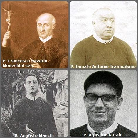 Tra i 37 defunti di oggi 5 dicembre, di cui 7 italiani, due immagini mostrano 8 Redentoristi: Prima immagine: gli italiani P. Francesco Saverio Menechini sen. (1769-1840); P. Donato Antonio Tramontano (1837-1911); P. Augusto Manchi (1862-1944) e P. Agostino Natale (1935-1966).