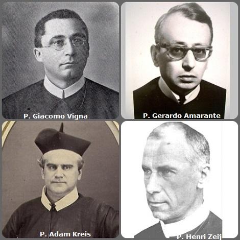 Seconda immagine: gli italiani P. Giacomo Vigna (1875-1967); e P. Gerardo Amarante (1920-1972); l'americano P. Adam Kreis (1837-1899) e l'olandese P. Henri Zeij (1877-1966) e, sotto, l'americano P. Lawrence E. Lover (1924-2014).