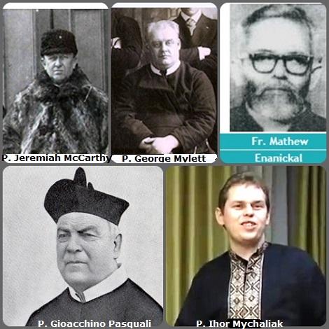 Tra i 26 defunti di oggi 10 dicembre, di cui 2 italiani, l'immagine mostra 5 Redentoristi:l'italiano P. Gioacchino Pasquali (1820-1899); l'irlandese P. Jeremiah McCarthy (1844-1905) trasferito in Canada; il canadese P. George Mylett (1877-1945); l'indiano P. George Enanickal (1937-1991) e l'ucraino P. Ihor Mychaliak (1969-2004) che lavorava in Spagna.