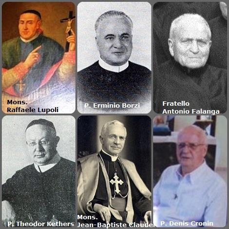 Tra i 32 defunti di oggi 12 dicembre, di cui 6 italiani, l'immagine mostra 6 Redentoristi: gli italiani Mons. Raffaele Lupoli (1767-1827), vescovo di Larino; P. Erminio Borzi (1900-1963) e il fratello Antonio Falanga (1874-1969); il tedesco P. Theodor Kethers (1877-1931); il francese Mons. Jean-Baptiste Claudel (1876-1955), vVescovo di Reyes, Bolivia e l'irlandese P. Denis Cronin (1933-2012), morto in Brasile.
