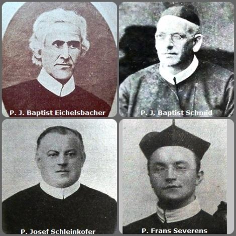 Tra i 38 defunti di oggi 8 gennaio di cui 5 italiani,due immagini mostrano 8 Redentoristi. Prima immagine 4 Redentoristi: i bavarese P. J. Baptist Eichelsbacher (1820-1889), P. J. Baptist Schmid (1866-1926)e P. Josef Schleinkofer (1853-1928); l'olandese P. Frans Severens (1862-1925).