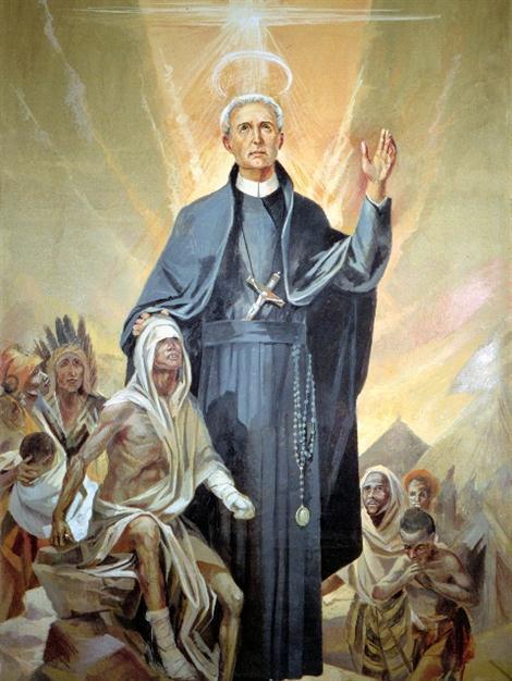 Beato Pietro Donders, missionario redentorista - Tela della beatificazione di A. Del Vecchio.