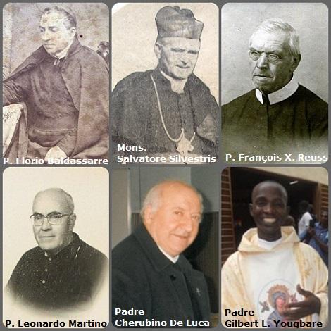 Tra i 39 defunti di oggi, 13 febbraio, di cui 6 italiani L'immagine mostra 6 Redentoristi: gli italiani P. Florio Baldassarre (1822-1874); Mons. Salvatore Silvestris, (1815-1879), vescovo; P. Leonardo Martino (1902-1986); P. Cherubino De Luca (1927-2004); il francese P. François Xavier Reuss (1842-1925), grandissimo latinista; e dal Burkina Faso il giovane P. Gilbert L. Yougbare (1976-2013).