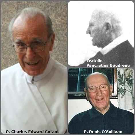 Seconda immagine, 3 Redentoristi: il canadese Fratello Pancratius Boudreau (1913-1989), apostolo del Rinnovamento nello Spirito; il missionario americano P. Charles Edward Cotant (1916-2013) e l'irlandese P. Denis O'Sullivan (1926-2013).
