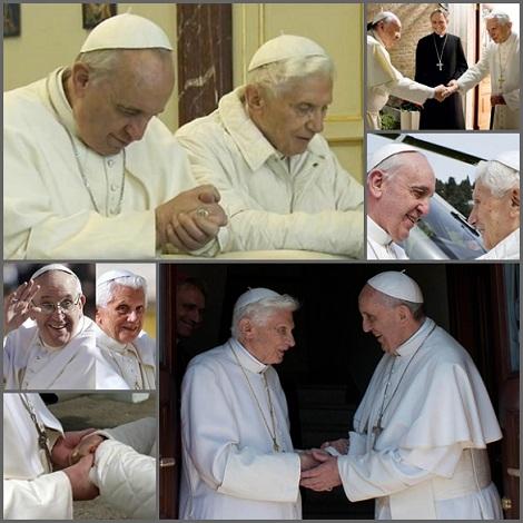 """È trascorso un anno vissuto con due Papi: Papa Francesco dimostra grande affetto e riconoscenza verso Benedetto XVI e questi spesso, quando è apparso in pubblico, ha manifestato chiaramente la sua incondizionata """"reverenza e obbedienza"""" a Papa Francesco. L'immensa popolarità, raggiunta in breve tempo dal nuovo Papa per le sue coraggiose aperture, sembra far storcere il naso a molti che vorrebbero una più Chiesa statica e ancorata ai privilegi. Fosche nubi sulla Chiesa sembrano poi alzarsi da alcuni organismi, anche internazionali,  ma la profonda comunione che unisce i due Papi assicurerà una sicura traversata."""