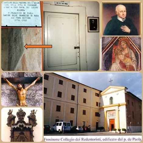 Frosinone. La Casa redentorista con o ricordi del P. Francesco A. De Paola, la sua stanza, la sua tomba dietro l'altare della Madonna del Grazie, il Crocifisso delle missioni e il pulpito da cui predicava.