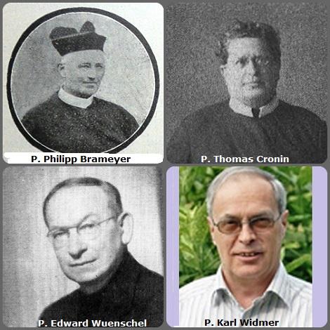 Seconda immagine: 4 Redentoristi: il tedesco P. Philipp Brameyer (1847-1923); il canadese P. Thomas Cronin (1892-1957); l'americano P. Edward Wuenschel (1898-1964) e lo svizzero P. Karl Widmer (1945-2013).