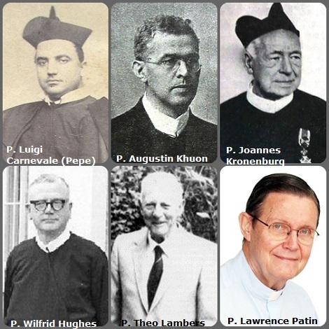 Tra i 32 defunti di oggi 11 gennaio, di cui uno italiano, l'immagine mostra 6 Redentoristi: l'italiano P. Luigi Carnevale (Pepe) (1834-1894); il bavarese P. Augustin Khuon (1875-1923); l'olandese P. Joannes Kronenburg (1853-1940); l'inglese P. Wilfrid Hughes (1906-1977); l'olandese P Theo Lambers (1911-1994) e l'americano P. Lawrence Patin (1937-2011).