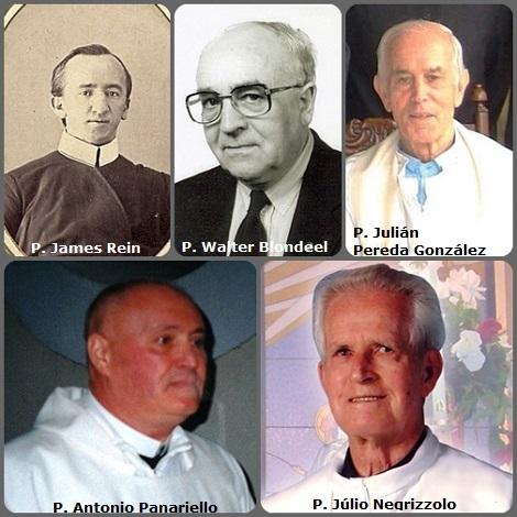 Tra i 49 defunti di oggi 13 gennaio, di cui 4 italiani, l'immagine mostra 5 Redentoristi: il bavarese P. James Rein (1845-1904) emigrato in USA; l'italiano P. Antonio Panariello (1944-2000); l'olandese P. Walter Blondeel (1919-2005); il brasiliano P. Júlio Negrizzolo (1923-2009) e lo spagnolo P. Julián Pereda González (1927-2013).