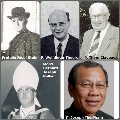 Seconda immagine: 5 Redentoristi = i tedeschi Fratello Josef Stehr (1861-1925) e P. Wolfdieter Theurer (1939-1973); l'olandese P. Thom Claveaux (1917-2005); l'americano Mons. Bernard Joseph Nolker (1912-2000) primo vescovo di Paranaguá, Brasile e l'americano vietnamita P. Joseph Thé Pham (1951-2012).