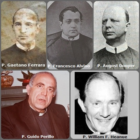 Tra i 37 defunti di oggi 19 gennaio, di cui 4 italiani, l'immagine mostra 5 Redentoristi: gli italiani P. Gaetano Ferrara (1820-1898); P. Francesco Alvino (1829-1911) e P. Guido Perillo (1933-1991); e gli americani P. August Dooper (1854-1924) e P. William F. Heanue (1919-2006).