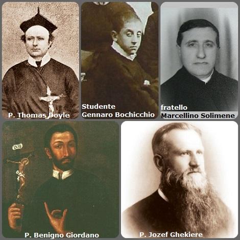 Tra i 39 defunti di oggi 21 gennaio, di cui 6 italiani, l' immagine mostra 5 Redentoristi: gli italiani P. Benigno Giordano (1705-1744), lo studente Gennaro Bochicchio (1877-1897) nel periodo del suo noviziato a Ciorani (1892) e il fratello Marcellino Antonio Solimene; l'irlandese P. Thomas Doyle (1821-1882) e il belga P. Jozef Ghekiere (1890-1940).