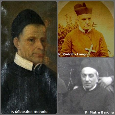 Tra i 41 defunti di oggi, 6 febbraio, di cui 8 italiani due immagini mostrano 7 Redentoristi. Prima immagine, 3 Redentoristi: il bavarese P. Sébastien Heberle (1781-1862) e gli italiani P. Rodolfo Longo (1868-1940) e P. Pietro Barone (1870-1946).